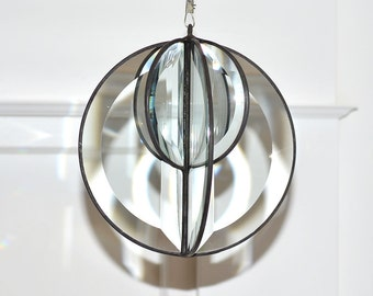 5 Inch Beveled Glass Round Orb with 3 Inch Inner Orb