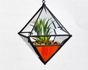 Pyramid Beveled Glass Orb Air Plant Planter with Orange Accent.