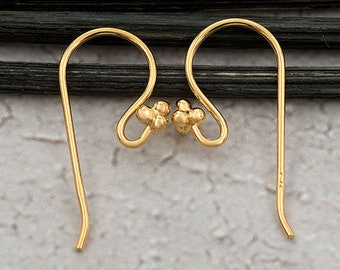 2 pc hammered flat front ear hooks Vermeil 18k gold over 925 sterling silver Flattened Front Earwires