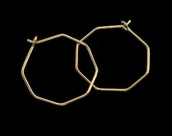 2 pairs of Sterling Silver Gold Vermeil Style Octagon Hoop Earrings 23mm :vm1595