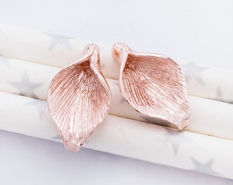 2 of 925 Sterling Silver Rose Gold Vermeil Style Calla Lilly Bead Caps 10.5x18mm. :pg0242