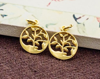 2 of 925 Sterling Silver 24k Gold Vermeil Style Tree of Life Charms 10 mm. :vm0884
