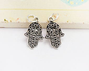 2 of 925 Sterling Silver  Little  Hamsa , Hand Of Fatima Charms 11x15 mm. :th2630