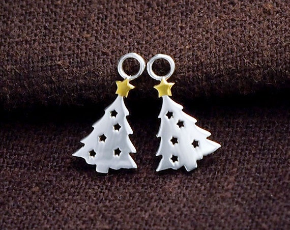 Sterling Silver Family Decorating the Christmas Tree Charm Solid .925