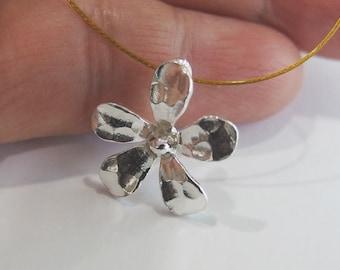 2 of Karen Hill Tribe Silver Flower Charms 16mm. :ka3837