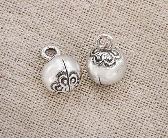 2 of Karen Hill Tribe Silver Imprint Bell Charms 10.5mm.