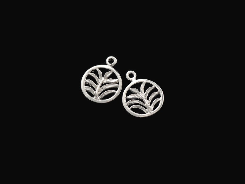 Polish Finished :tm0173 2 of 925 Sterling Silver Palm Branch Charms 11.5mm