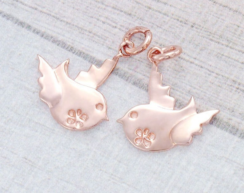 2 of 925 Sterling Silver Rose Gold Vermeil Style Bird Charms 14x15 mm :pg0021