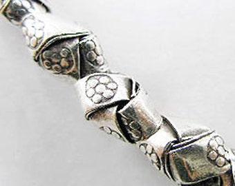 10 of Karen Hill Tribe Silver Imprint  Woven Beads 6x10mm. :kt0445