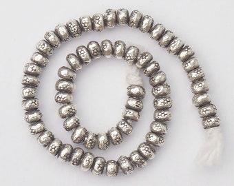 60 of Karen Hill Tribe Silver Imprint  Seed Beads 3x2 mm. :ka2787