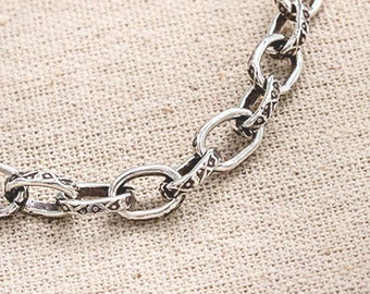 7.3 inches of Karen Hill Tribe Silver Imprint  Opened  Oval Link Chain 7x10 mm. :ka4331