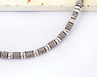 "32 of Karen Hill Tribe Silver Leaf  Printed Beads  3 x 5 mm. 7"" :ka3850"