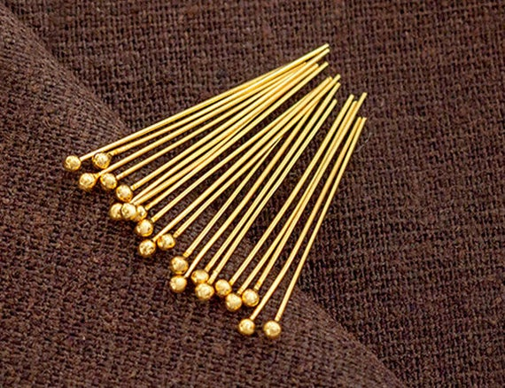 24K Gold Plated Sterling Silver Eye Pins 30mm 50mm Findings Multi Listing