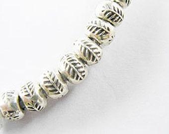 15 of Karen Hill Tribe Silver Leaf Imprint Beads 5x3.5 mm. :ka3562
