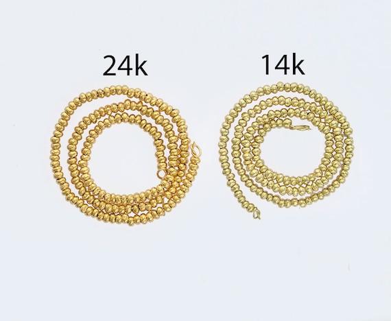vm1568 15 of Karen Hill Tribe Silver Gold Vermeil Style Facet Rondelle Beads 3.5x3.2 mm