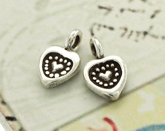 6 of Karen Hill Tribe Silver Heart Charms 6.5 mm. :ka4013