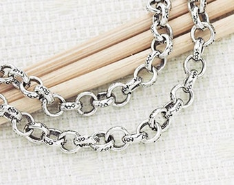 9 inches of Karen Hill Tribe Silver Imprint Opened Link  Chain 4mm. :ka0042