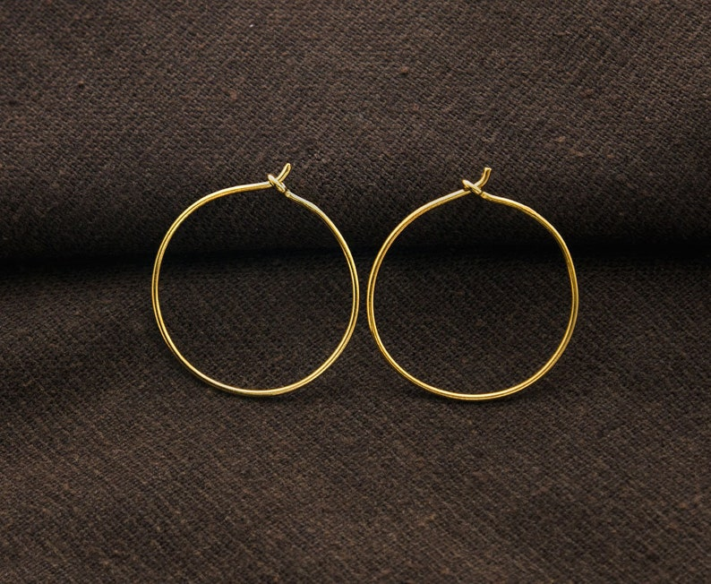 vm1420 2 pairs of Sterling Silver 24K Gold Vermeil Style Hoop Earrings 25mm