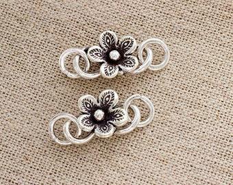 2 of Karen Hill Tribe Silver Flower Clasps 18mm. :ka4322