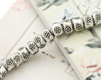 15 of Karen Hill Tribe Silver Daisy Imprint Beads 5x3.5 mm. :kp0691