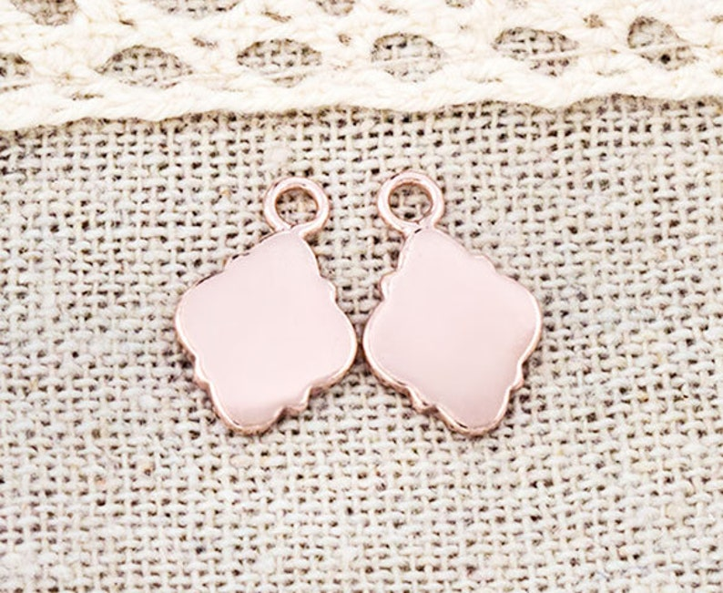 2 of 925 Sterling Silver Rose Gold Vermeil Style  Moroccan Style Drop Charms 8x11mm pg0351 Polish Finished