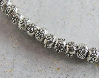 15 of Karen Hill Tribe Silver Daisy Imprint Beads 5.5x4 mm. :ka3930