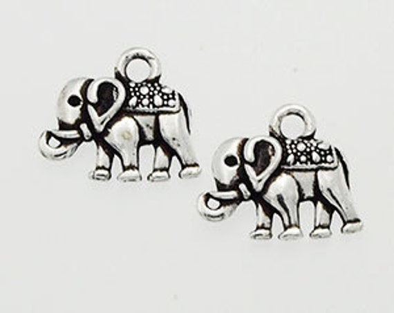 925 Sterling Silver 2  Elephant Charms 8x12 mm.