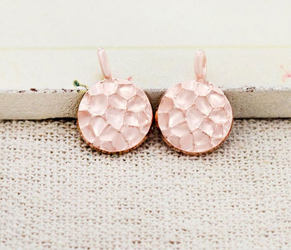 925 Sterling Silver Rose Gold Vermeil Style 6 Round Disc Tag Charms 4 mm.