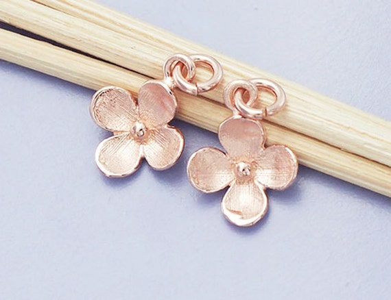 925 Sterling Silver Rose Gold Vermeil Style 4 Ball Charms 5mm.