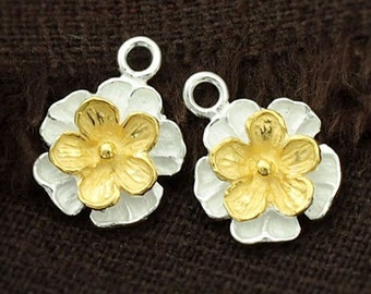 2 of 925 Sterling Silver Flower Charms , Two Tone Gold & Silver 11mm. :th2193