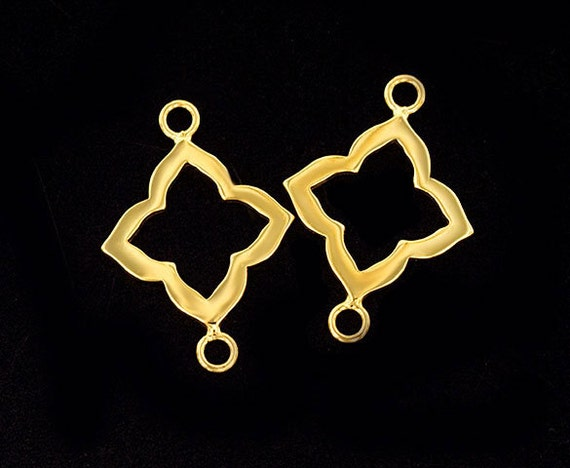 925 Sterling Silver 24k Gold  Vermeil Style  2 Circle Links 20 mm.