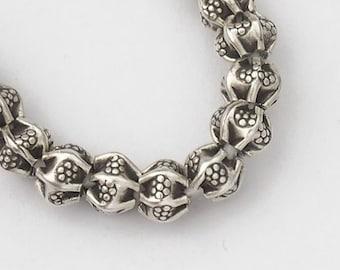 15 of Karen Hill Tribe Silver Imprint  Pleat Beads 5x4mm. :ka3797
