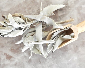 Loose White Sage - Smudge Incense - Ritual - Clearing - Meditation - Organic Sage - Fair Trade Pouch