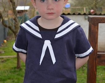 Vintage style Linen Sailor suit for boys