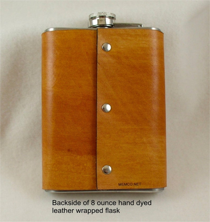 Set of 3 Groomsmen Gift Engraved Flask with Hand Dyed Engraved Leather Wrap 8 Ounce-