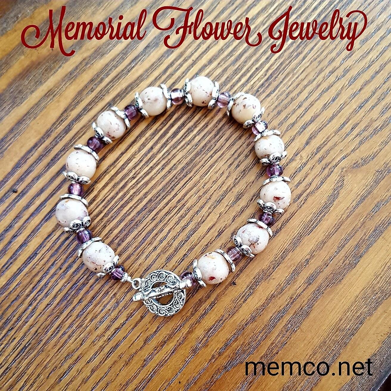 Memorial Flower Bracelet And Ear Ring Funeral Flower Etsy