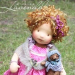 """Kaya and Johanne OOAK Natural Fibres Doll by Atelier Lavendel Waldorf Inspired Doll  Cloth Doll 16"""" Artist Bear ECO friendly"""