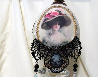 Rhea Egg with Victorian Silk Print in the Faberge Style
