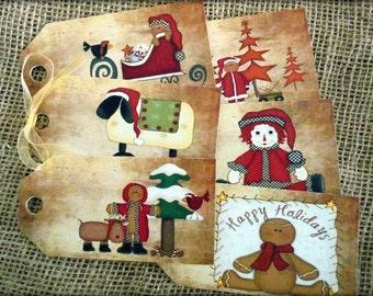 Set of 6 Large Primitive Santa Christmas Gift Tags With Ribbon