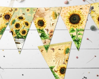 Sunflower Vintage Style Summer Floral BuntingBanner with Organza Ribbon 3m