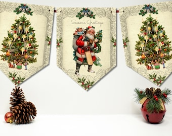 traditional vintage victorian style christmas buntingbanner ribbon 3m