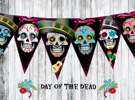 Halloween Day of the Dead Sugar Skulls Bunting Party Decoration /& Ribbon
