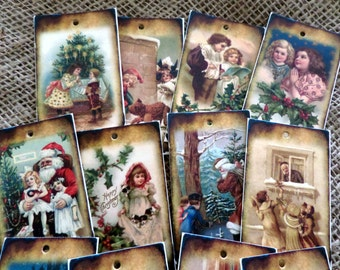 Set of 12 Shabby Traditional Vintage Christmas Gift Tags