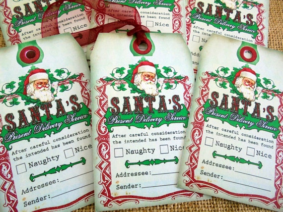 Set of 6 Large Primitive Homestyle Christmas Gift Tags With Ribbon