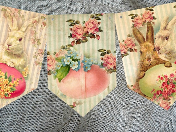 8 Flags Traditional Vintage Style Easter Bunting