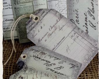 8 Ephemera Vintage Script Style Gift Tags