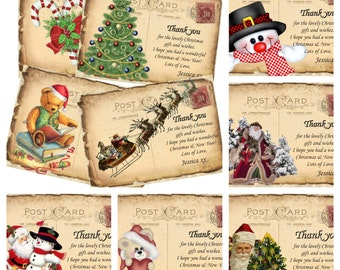 4 Tattered Postcard Personalised Christmas Thank you Cards & Envelopes