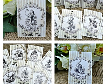 8 Alice in Wonderland Eat Me or Drink Me Gift Tags & String