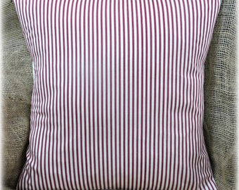 """Red & Cream Ticking Striped Smooth Cotton Fabric Cushion Cover 16"""" x 16"""""""