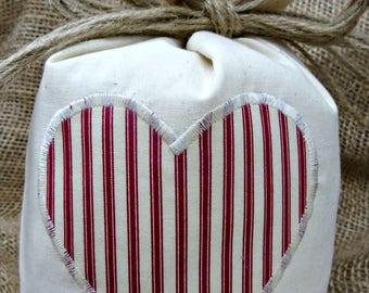 Cotton DoorStop With Red & Cream Ticking Striped Heart - Unfilled